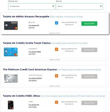 Ejemplo de cotización de tarjetas de crédito