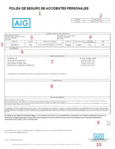 Muestra de la carátula de un certificado de seguro de grupo de accidentes personales.