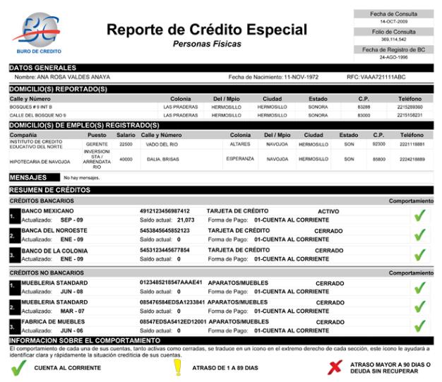 Ejemplo de Reporte de Crédito Especial